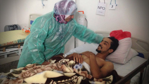 Update From Libya: Najib, 22, was brought to our hospital in ‎Gernada, ‪Libya, a week ago after a bullet wounded his leg.