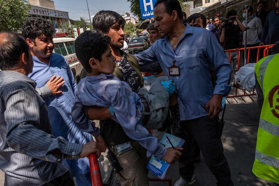 Afghanistan: This Child Was Still Holding His Books And A Pencil Before Entering The Hospital.